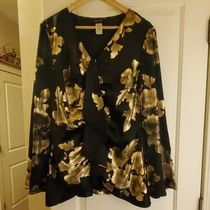 Pre-owned Ashro black and gold floral top.